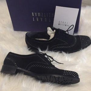 NIB Stuart Weitzman Black Suede Studded Loafers